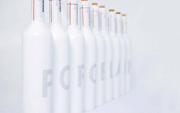 porcelain wine bottles by thibaut godard