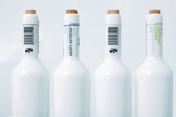 porcelain wine bottles set by tibaut godard