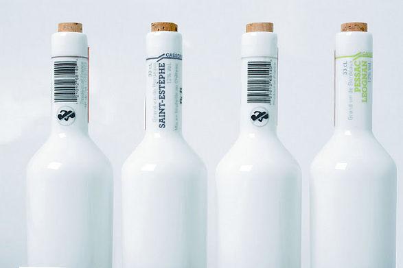 porcelain wine bottles set by tibaut godard