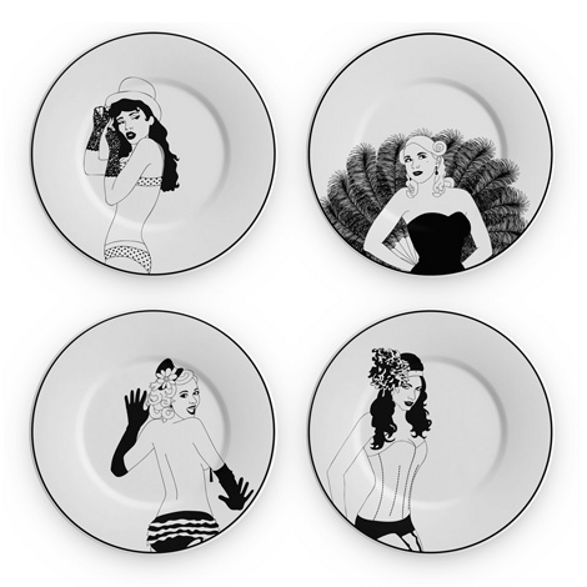 bourlesque plates wall decoration pin up