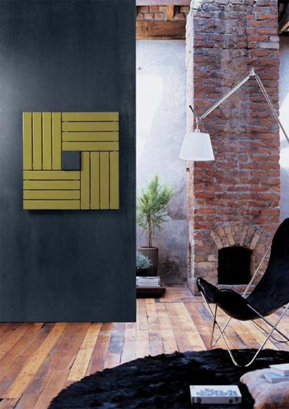 square radiator and wall decoration