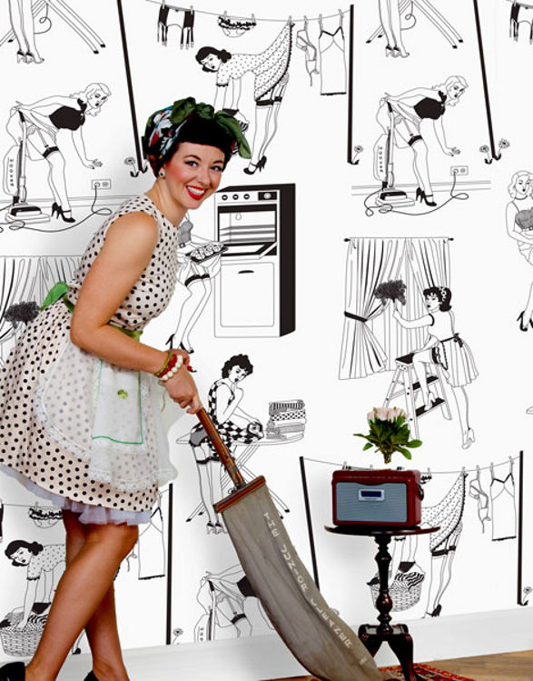 housewife black and white wallpaper