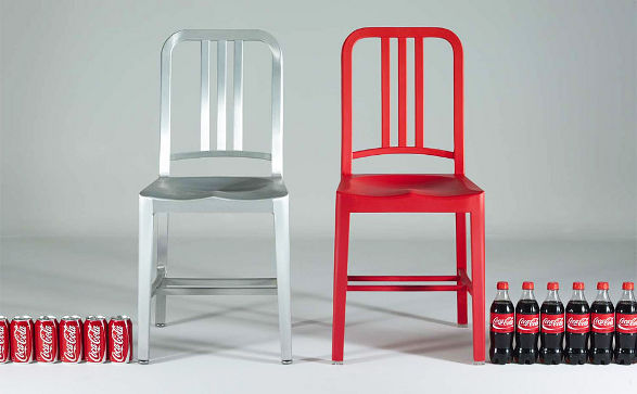 111 navy chair made of bottles