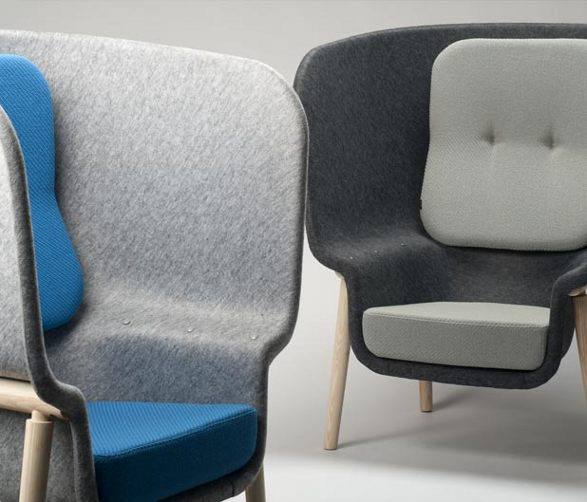 the pod chair made of moulded felt