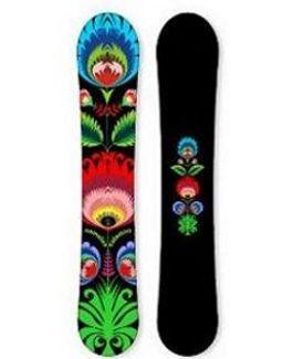 black snowboard inspired by folk art