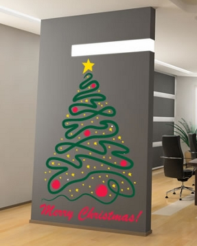 christmas tree with star wall decal