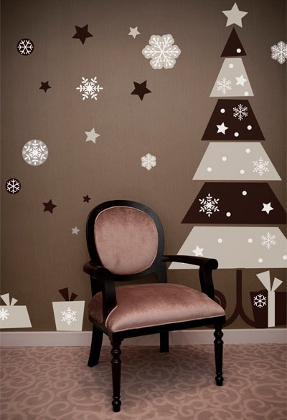 giggle smile design christmas tree wall sticker