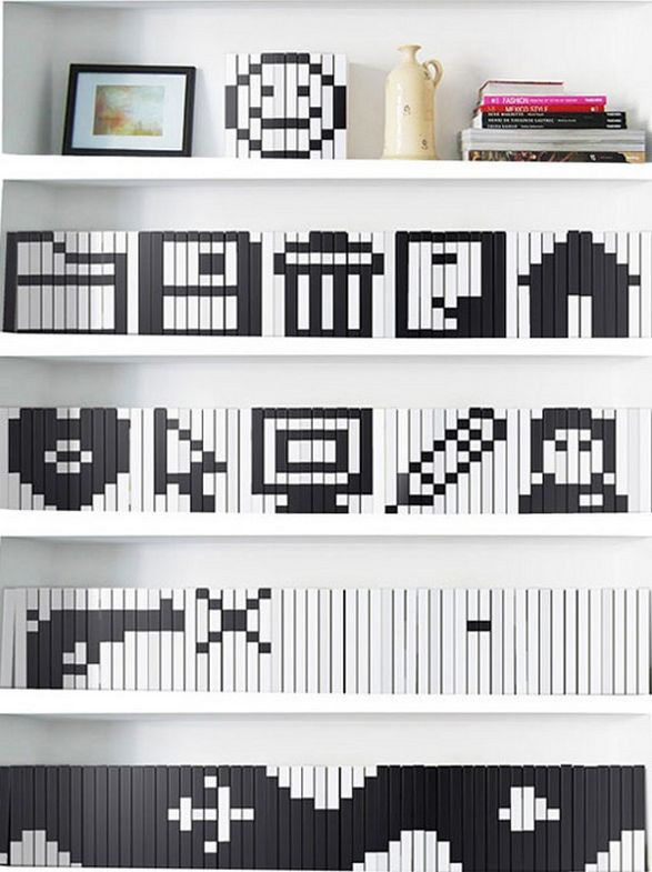 books jackets with pixelated icons