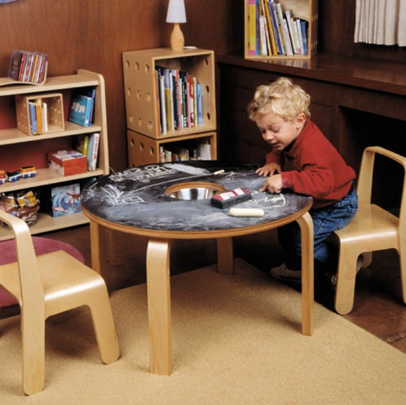 woody chalkboard table for children by offi