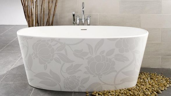 floral image-in bathtube with floral decoration