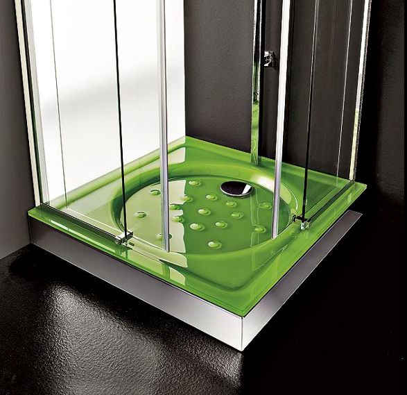 green glass round shower tray