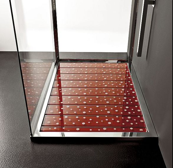 red glass shower tray