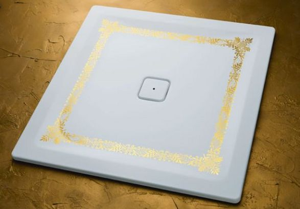 shower tray with golden ornament