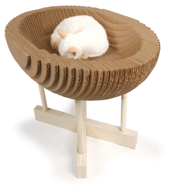 kittypod bed for cat made of cardboard
