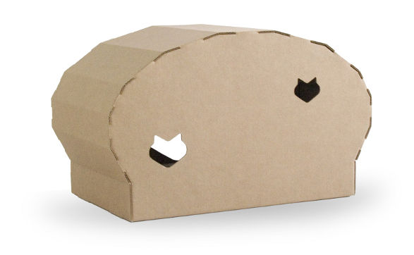 kittypod dome inhabit for cats made of cardboard