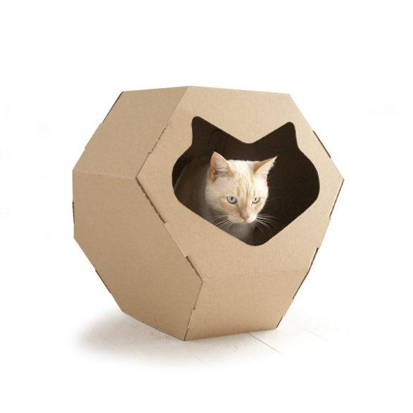 kittypod geodome inhabit for cat made of cardboard