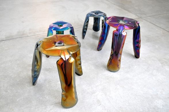 unique plopp stools made in fidu technology by zieta