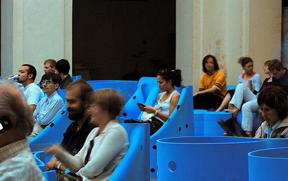 blue modern chair cover