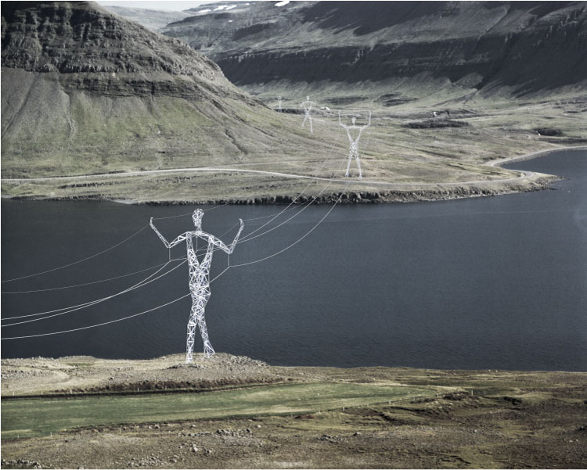 the land of giants human body shaped pylon