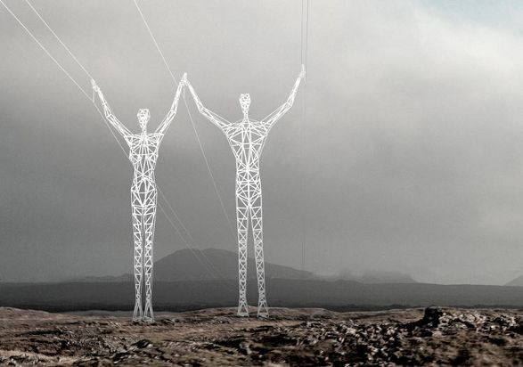 the land of giants human shaped pylons