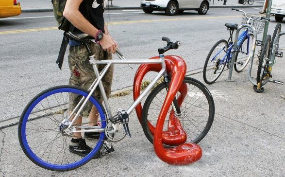 bike rack inspired by outerspace
