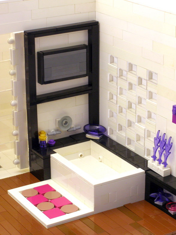 modern apartment made of lego blocks bathroom