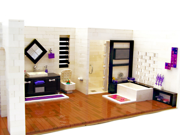 modern apartment made of lego bricks bathroom