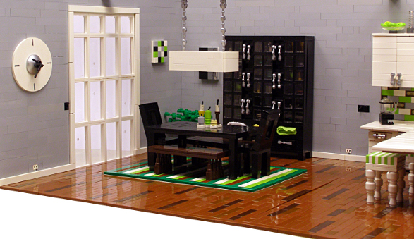 modern apartment made of lego bricks dinning