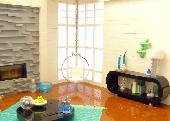 modern apartment made of lego bricks living room