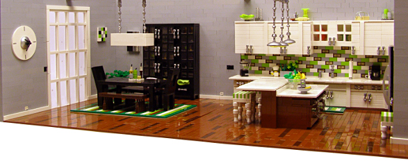 modern kitchen made of lego bricks