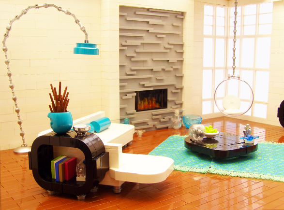 modern living room made of lego blocks