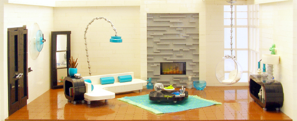 modern living room made of lego bricks