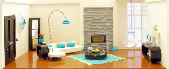 Modern Apartment Made Of Lego Bricks