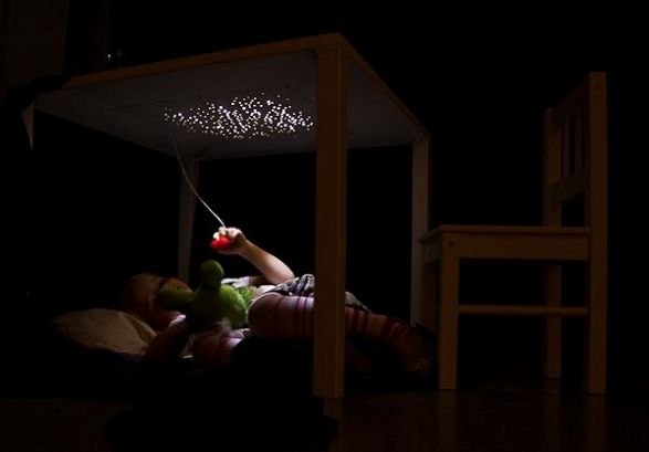 table for children with light under tabletop