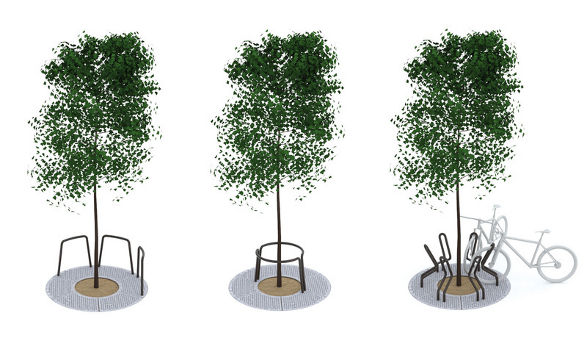 sinus multifunctional tree grids with bicycle stands and guardrails by mmcite