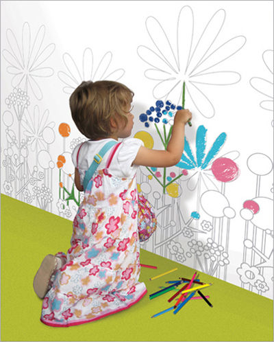 wall paper for child's room inspired by spring garden