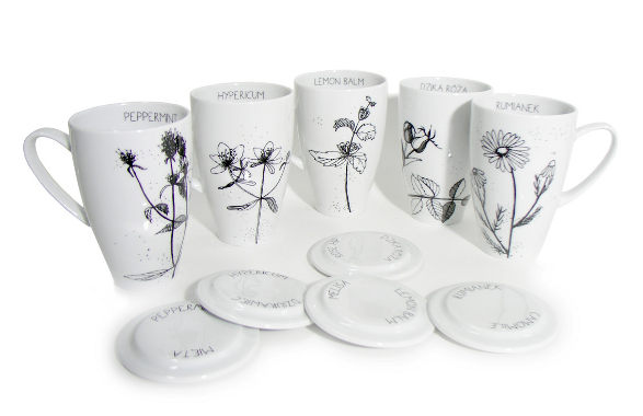 herbal collection of tea mugs black and white by agnieszka dybowska
