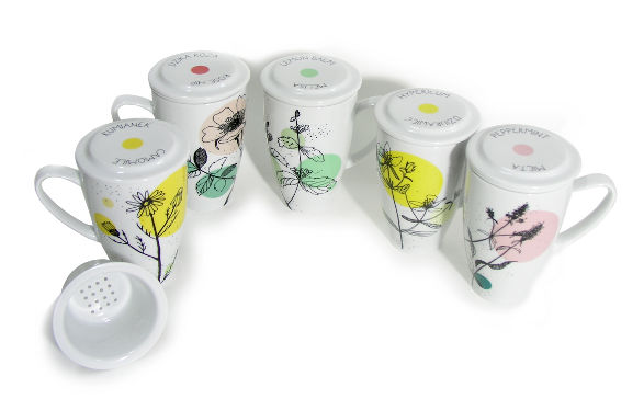 herbal collection of tea mugs in colour by kristoff fine porcelain