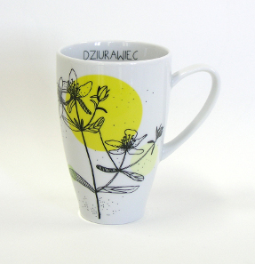 tea mug with hypericum decoration by kristoff fine porcelain