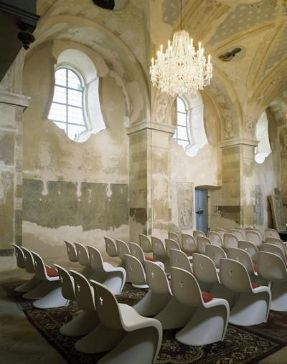 panton chair in czech church