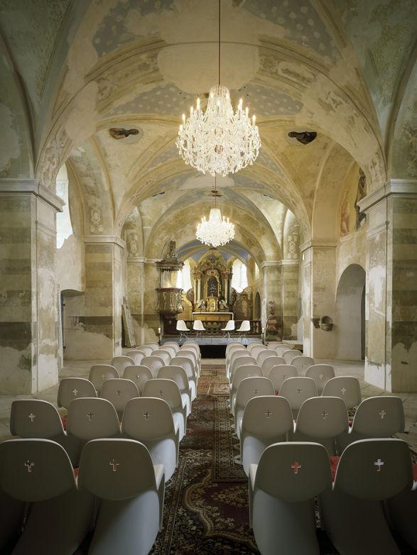 panton chair in the church