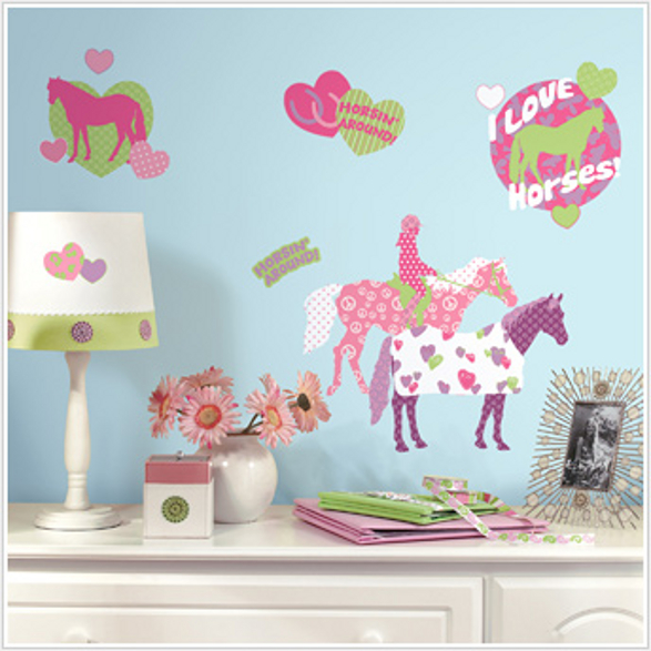 horse crazy wall stickers for girls room