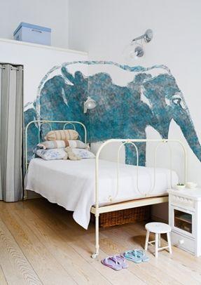 aqua elephas wallpaper for kids room