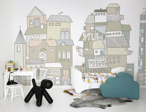 cartoon city wallpaper for kids room