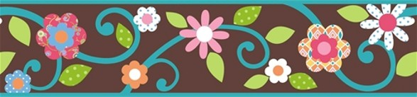 brown floral scroll border for child's room