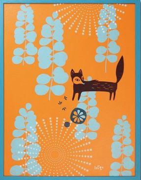 renard silkscreen print for kid's room