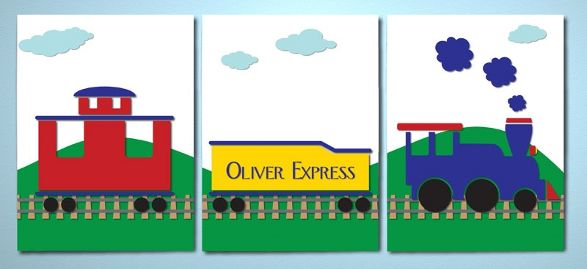 train canvas for child's room