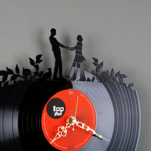dance wall clock made of old vinyl record