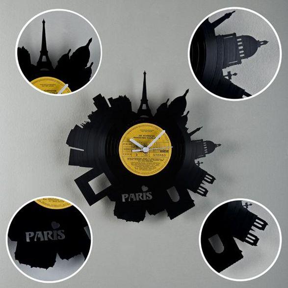 paris wall clock made of vinyl plate