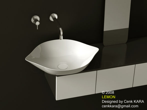 lemon wash basin white